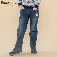 【2件2.5折 到手价:150】Pawinpaw宝英宝卡通小熊童装冬款男童水洗牛仔裤儿童休闲直筒长裤