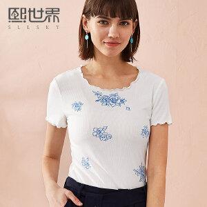 熙世界短袖修身圆领T恤女2018年夏装新款印花上衣女装112ST046