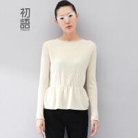 【1件7折/2件5折】初语冬季新款 复古针织纹理收腰套头羊绒衫女8440423187