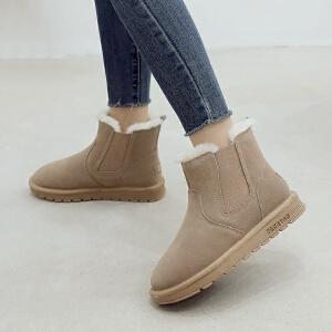 ZHR2017秋冬季新款短筒雪地靴平底短靴女磨砂学生女靴子加绒棉鞋P38