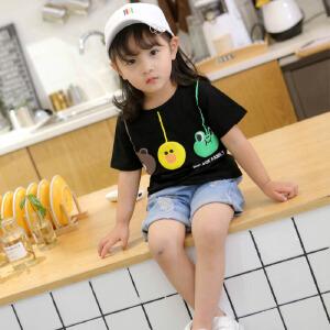 乌龟先森 儿童T恤 女童圆领短袖棉质透气薄款休闲衬衫中小童夏季新款时尚百搭可爱打底衫