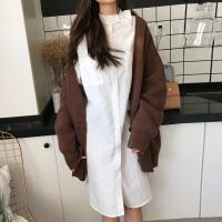 小清新韩版春装chic女装宽松纯色复古单排扣小领结中长款衬衫裙女