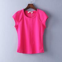糖果色女装T恤短袖t恤女夏半袖上衣修身显瘦纯色打底衫