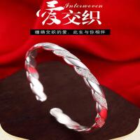 银手镯女款满天星手环镯子韩版开口时尚潮流简约银饰品送妈妈礼物