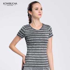 【满100减50/满200减100】Kombucha瑜伽健身T恤女士弹力速干透气排汗运动短袖T恤跑步健身运动上衣K0136