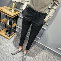 新款秋款男士韩版修身小脚休闲裤男裤子个性青年时尚西裤格子潮流