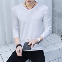 男士长袖t恤全白素色单色简单长衫男衫血��打底衫秋衣外穿上衣服