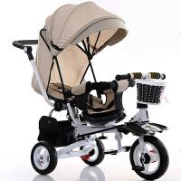 可坐可躺款儿童三轮车可折叠带减震婴儿推车宝宝脚踏车玩具单车 坐躺+灰车篷+不可折叠发泡 7离合轮
