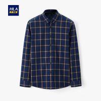 HLA/海澜之家时尚撞色格纹长袖衬衫2019冬季新品内里加绒长衬男