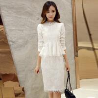 蕾丝连衣裙春装新款女长袖韩版套装裙显瘦两件套时尚春秋女装