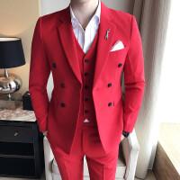 18秋冬男士潮流双排扣结婚拍照大红色西服三件套装韩版修身西装