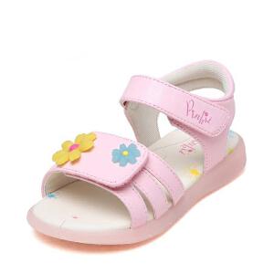 鞋柜shoebox/苹绮夏季儿童凉鞋甜美可爱风花朵露趾软底魔术贴女童