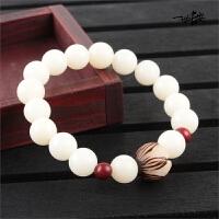 圆珠素珠男女手链佛珠雕刻莲花中国风饰品