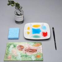 美捷乐陶瓷调色盘 水彩波浪椭圆调色盘 带孔白陶瓷调色板国画水粉方形圆形颜料盒