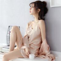 春秋季睡衣女长袖夏季冰丝绸性感吊带睡裙睡袍两件套装家居服