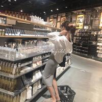 开叉显瘦吊带背心裙连衣裙外套套装2018秋装新款女 白色 外套-16个工作日