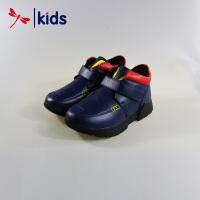 红蜻蜓童鞋男童中大童冬款真皮保暖休闲鞋皮鞋