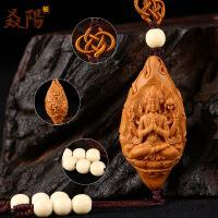 橄榄核雕单籽单核手工雕刻四臂观音雪域西藏守护神橄榄胡单颗核雕 图片色