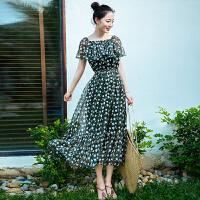 夏季新品女装短袖中长裙子雪纺连衣裙波西米亚海边度假沙滩裙 图片色XZB640