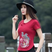 中国风女装上衣夏装新款绣花民族风短款短袖T恤女显瘦大码打底衫