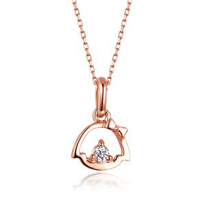 佐卡伊 精致版樱桃小丸子玫瑰18K金钻石吊坠项坠 女士珠宝首饰