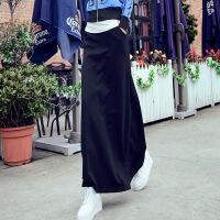 韩版半身裙子女秋冬装百搭高腰黑色中长裙包臀Aa字款摆裙加厚