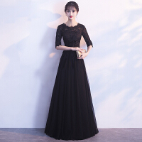 宴会晚礼服女2018新款高贵优雅韩版学生短款黑色派对小礼服连衣裙