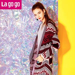 Lagogo秋季新款复古民族风针织衫女中长款开衫外套韩版长袖秋装