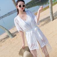 蕾丝开衫披肩外套空调衫优雅中长薄款复古镂空外搭沙滩