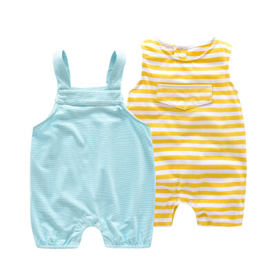 婴儿爬服夏季男女宝宝连体衣短袖薄款开档哈衣新生儿外出衣服