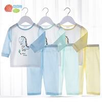 贝贝怡男女宝宝纯棉内衣套装新款婴幼儿轻薄透气长袖上衣裤子