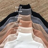 秋冬韩版修身纯色加厚长袖打底针织衫上衣复古百搭高领套头毛衣女