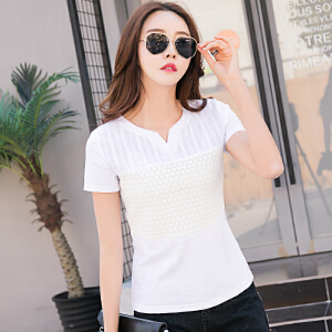 夏装新款女装T恤韩版棉质小V领体恤衫纯色短袖女修身刺绣上衣