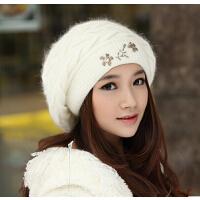 女冬天护耳帽可爱冬帽兔毛帽子韩版女士秋冬季毛线贝雷帽帽子