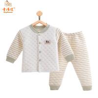 童浩顽跨境秋冬新款童装婴儿韩版天然彩棉立领保暖套装长袖夹棉棉衣