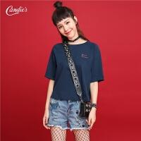 2017夏季新款时尚女士衣服韩版学生纯色软妹上衣女短袖T恤女生30072633