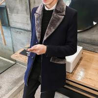 冬季潮男士英伦中长款修身呢子风衣保暖毛领外套中年韩版时尚大衣