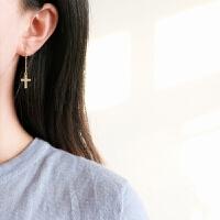 日韩简约气质耶稣十字架14k包金耳钉耳环无耳洞耳夹