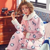 孕妇睡衣秋冬季珊瑚绒加绒夹棉产后喂奶月子服法兰绒哺乳睡衣