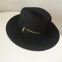 秋冬季时尚金属拉链羊毛呢帽个性复古爵士礼帽子欧美英伦风男女潮