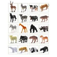 野生动物模型仿真玩具套装动物园老虎猫咪奶牛小鸡狼河马大象恐龙