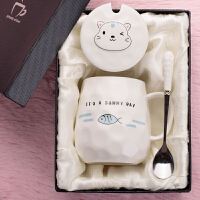 创意超萌可爱陶瓷杯子带盖勺马克杯韩版潮流喝水杯少女心学生家用