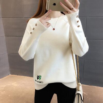 新款时尚潮圆领套头加厚短款毛衣女士春装2018宽松百搭长袖打底衫