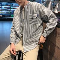 18春季日系小清新竖条纹衬衫男韩版学生长袖立领潮男休闲衬衣
