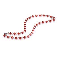 梦克拉 925银珍珠玛瑙项链 伊人 玉髓项饰圆珠红玛瑙颈饰女款