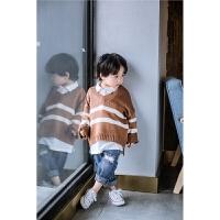 童装针织毛衣宝宝针织衫新款儿童条纹毛衣宽松休闲毛衣潮