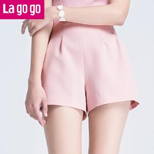 Lagogo拉谷谷2017夏季新款粉色直筒简约休闲短裤纯色高腰短裤女