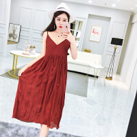 夏装新款性感V领纯色优雅褶皱雪纺小心机露背吊带裙连衣裙