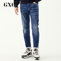 【GXG过年不打烊】GXG牛仔裤男装 冬季男士时尚都市潮流青年修身蓝色裤子牛仔裤