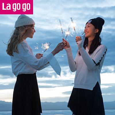 【秒杀价59】Lagogo2019夏秋季新款字母刺绣白色衬衫休闲不规则时尚长袖上衣女